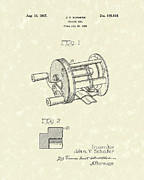 Antique Artwork Posters - Fishing Reel 1937 Patent Art Poster by Prior Art Design