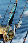 Fishing Rods Prints - Fishing rods onboard a boat in the Mediterranean Sea Print by Sami Sarkis