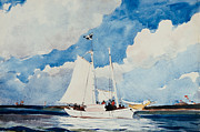 Blue Sailboat Metal Prints - Fishing Schooner in Nassau Metal Print by Winslow Homer