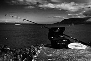 Fishing Tackle Box Filled With Sea Fishing Gear Rod And Bait On The County Antrim Coast Print by Joe Fox