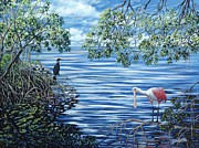 Spoonbill Paintings - Fishing the Mangroves by Danielle Perry
