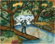 Fisherman In Stream Paintings - Fishing the Sunny River by Tanna Lee M Wells