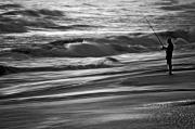 Black And White Landscape Photograph Posters - Fishing The Surf Poster by William Jones
