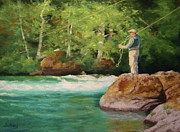 Fly Pastels Framed Prints - Fishing the Umpqua Framed Print by Nancy Jolley