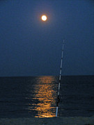 Sea Moon Full Moon Framed Prints - Fishing Under the Blue Moon Framed Print by Carol Bruno