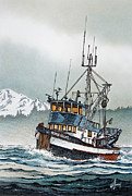 Maritime Greeting Card Painting Originals - Fishing Vessel Home Shore by James Williamson