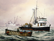 Fishing Art Print Posters - Fishing Vessel MONTAGUE Poster by James Williamson
