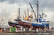 Fishing Art Print Prints - Fishing Vessel RANGER Drydock Print by James Williamson