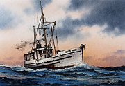 Fishing Art Print Posters - Fishing Vessel Silver Wave Poster by James Williamson