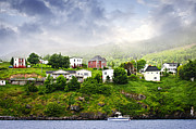 Foggy Photos - Fishing village in Newfoundland by Elena Elisseeva