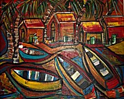 Beach Scenes Photo Originals - Fishing Village by Laura Fatta