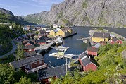 Norwegian Fishing Village Framed Prints - Fishing Village, Norway Framed Print by Dr Juerg Alean
