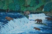 Waterfalls Paintings - Fishing with a Style by Lumami Dumapat