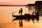 Fishing Boat Sunset Posters - Fishing with Daddy Poster by Bonnie Barry