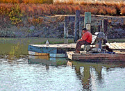 Old Man Fishing Prints - Fishing with Friends Print by Suzanne Gaff