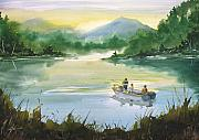 Boy Painting Prints - Fishing With Grandpa Print by Sean Seal