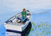 Dog In Lake Posters - Fishing with my Pal Poster by Pauline Ross