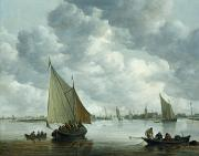 Fishing Boats Prints - Fishingboat in an Estuary Print by Jan Josephsz van Goyen