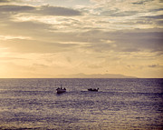 Fishingboat Posters - Fishingboats at Dusk Poster by Philip Sweeck