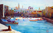 Fishingboat Posters - Fishingboats in the harbor of Monopoli Poster by Andre MEHU