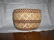 Basket Sculptures - Fishnet Full of Salmon Basket by Mary Lou Slaughter