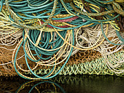 Netting Framed Prints - Fishnets and Ropes Framed Print by Carol Leigh