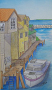 Lake Michigan Painting Originals - Fishtown  by Sarah Tule