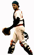 Red Sox Drawings - Fisk  Carlton Fisk by Iconic Images Art Gallery David Pucciarelli