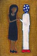 Michelle Obama Paintings - Fist Pumping First Lady He Seeing Stars by Ricky Sencion