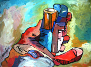 Impasto Oil Painting Prints - FISTFULL of MARKERS Print by Charlie Spear