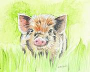 Pet Pig Prints - Fitztown Farm Pig 2 Print by Morgan Fitzsimons