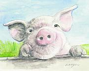 Pet Pig Prints - Fitztown Farm Pig Print by Morgan Fitzsimons