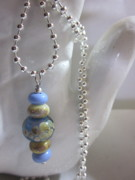 Blue Flowers Jewelry - Five Bead Necklace by Janet  Telander