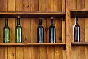 Glass Wall Prints - Five Bottles Print by Carlos Caetano