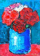 Carnations Paintings - Five Carnations by Ana Maria Edulescu