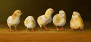 Realistic Digital Art Prints - Five Chicks Named Moe Print by Bob Nolin