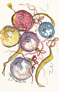 Christmas Notecard Originals - Five Christmas Ornaments by Michele Hollister - for Nancy Asbell