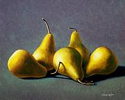 Food And Beverage Painting Prints - Five Golden pears Print by Frank Wilson