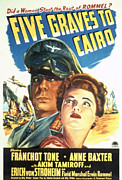 Films By Billy Wilder Framed Prints - Five Graves To Cairo, Erich Von Framed Print by Everett