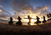 Five Hula Dancers At The Beach At Palauea Print by David Olsen