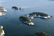 Maine Scenes Prints - Five Islands From The Air In Winter Print by Heather Perry