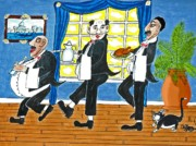 Italian Meal Painting Posters - Five Italian Waiters Poster by Gordon Wendling