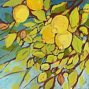 Fruit Painting Posters - Five Lemons Poster by Jennifer Lommers