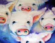 Piglet Paintings - Five Little Squeals by Marcia Baldwin