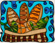 Bible Drawings Prints - Five Loaves Two Fish Original Print by Suzanne  Frie