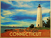 Connecticut Digital Art Prints - Five Mile Point Lighthouse Connecticut Print by Vintage Poster Designs