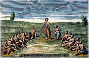 Huron Indian Art - FIVE NATIONS: MEETING, c1570 by Granger