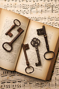 Antique Books Prints - Five old keys Print by Garry Gay