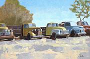 Old Trucks Paintings - Five old trucks by Tate Hamilton