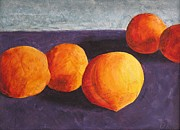 Local Food Painting Prints - Five Peaches Print by Dina Day